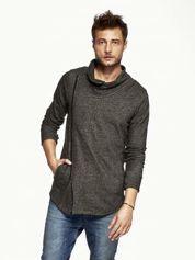 Czarna melanżowa bluza męska z ukośnym zapięciem