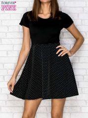 Czarna sukienka retro w groszki