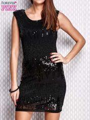 Czarna sukienka z aplikacją z koralików i cekinów