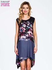 Czarna sukienka z kwiatowym nadrukiem i asymetrycznym dołem