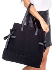 Czarna torba miejska z kokardkami