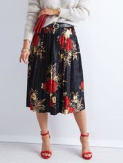 Czarna welurowa plisowana spódnica w kwiaty