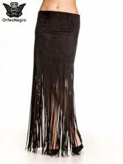 Czarna zamszowa spódnica maxi z frędzlami
