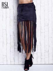 Czarna zamszowa spódnica z frędzlami