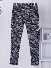 Czarne legginsy dla dziewczynki w melanżowy wzór
