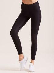 Czarne legginsy z szeroką gumką w pasie