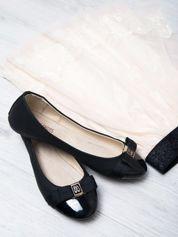 Czarne matowe baleriny Double Cream z kokardką i lakierowanym przodem