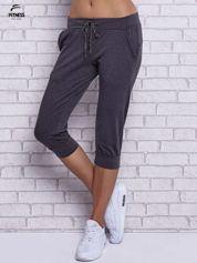 Czarne melanżowe spodnie capri z bocznymi kieszeniami