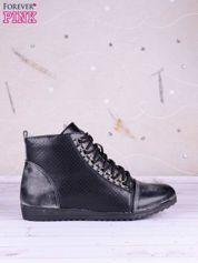 Czarne przecierane sneakersy ze skóry ze złotymi szlufkami