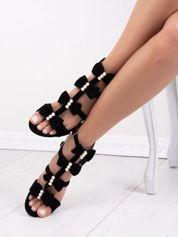 Czarne sandały SABATINA z kokardkami
