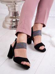 Czarne sandały SERGIO LEONE  z kolorową gumką