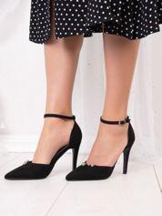 Czarne sandały Tulipano z zdobnymi koralikami
