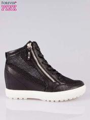 Czarne sneakersy damskie z wężową siateczką