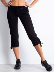 Czarne spodnie dresowe capri z troczkiem