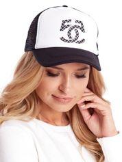 Czarno-biała czapka z daszkiem z siatkową wstawką