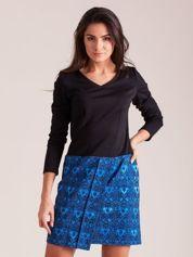 Czarno-niebieska sukienka koktajlowa z ornamentową spódnicą
