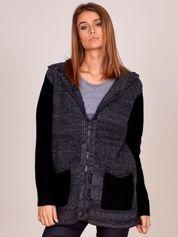 Czarno-szary sweter z kapturem na suwak