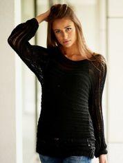 Czarny ażurowy sweter z dekoltem w łódkę FUNK N SOUL
