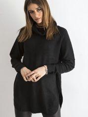 Czarny długi sweter z golfem