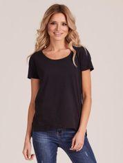Czarny gładki t-shirt damski