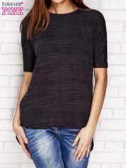Czarny melanżowy t-shirt z dłuższym tyłem