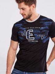 Czarny męski t-shirt bawełniany