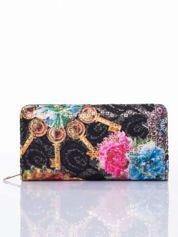 Czarny portfel z nadrukiem paisley