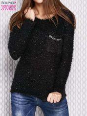 Czarny sweter fluffy z cekinami