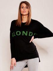 Czarny sweter z napisem