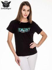 Czarny t-shirt z aplikacją ENJOY z cekinów