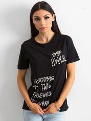 Czarny t-shirt z bawełny z aplikacjami