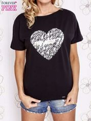 Czarny t-shirt z napisem JE T'AIME i dekoltem na plecach