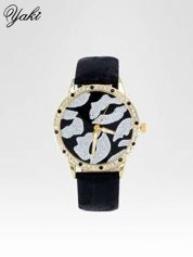 Czarny zegarek na pasku z motywem KISS
