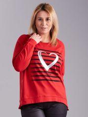 Czerwona bluzka z nadrukiem PLUS SIZE