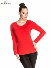 Czerwona gładka bluzka sportowa z dekoltem U PLUS SIZE