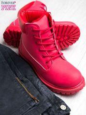 Czerwone jednolite buty trekkingowe damskie traperki ocieplane