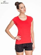 Czerwony damski t-shirt sportowy basic
