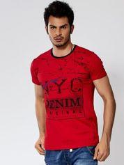 Czerwony t-shirt męski urban print