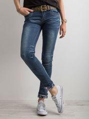 Damskie jeansy slim fit niebieskie