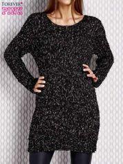 Długi sweter z cekinami i kolorową nicią czarny