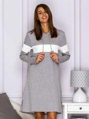 Dresowa sukienka z kapturem i jasnym modułem szara
