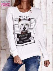 Ecru bluza z nadrukiem psa