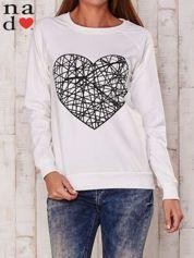 Ecru bluza z nadrukiem serca