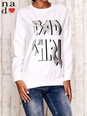 Ecru bluza z napisem BAD GIRL