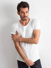 Ecru gładka koszulka męska