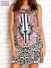 Ecru sukienka z motywem pantery