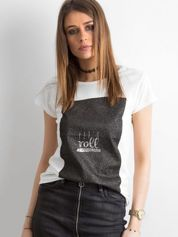 Ecru t-shirt damski z nadrukiem