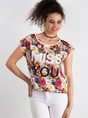 Ecru t-shirt z kwiatowym przodem z dżetami
