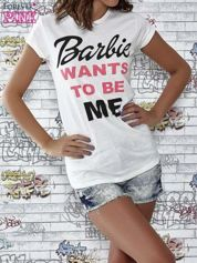 Ecru t-shirt z napisem BARBIE WANTS TO BE ME