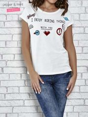 Ecru t-shirt z napisem I ENJOY BORING THINGS WITH YOU